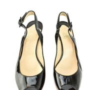 CHRISTIAN LOUBOUTIN: Black, Patent Leather Cork Heels/Wedges Sz: 8M
