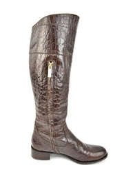 "RACHEL ZOE ""Jacqueline"": Brown, Leather & Logo, Crocodile Tall Boots, Sz: 8.5M"