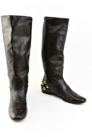 GUCCI: Brown Leather & Gold Studded, Tall Moto Boots Sz: 6.5M