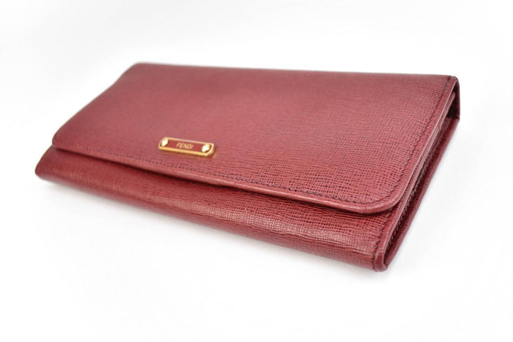 "FENDI ""Crayons"": Red, Leather & Logo Long Continental Wallet (m)"