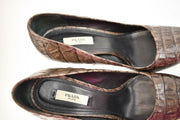 "PRADA: Brown, Leather ""Alligator"" Platform Heels/Pumps Sz: 9M"