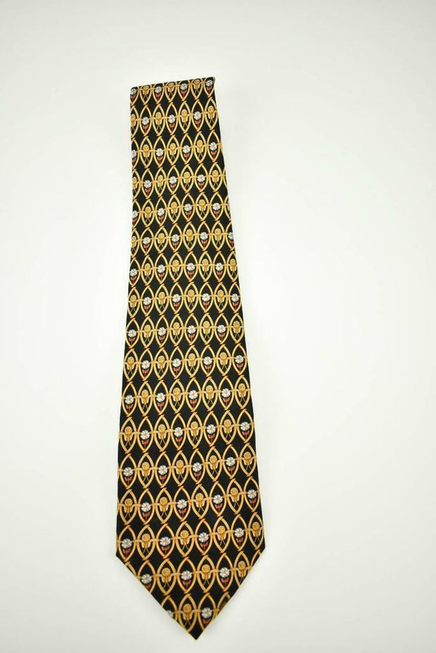 "LANVIN ""Paris"": Gold & Black Medallion, 100% Silk, Club Tie"