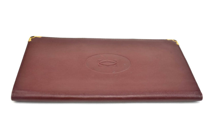 "CARTIER ""Must C"": Burgundy, Leather & ""Double C"" Logo, Long Wallet (mw)"