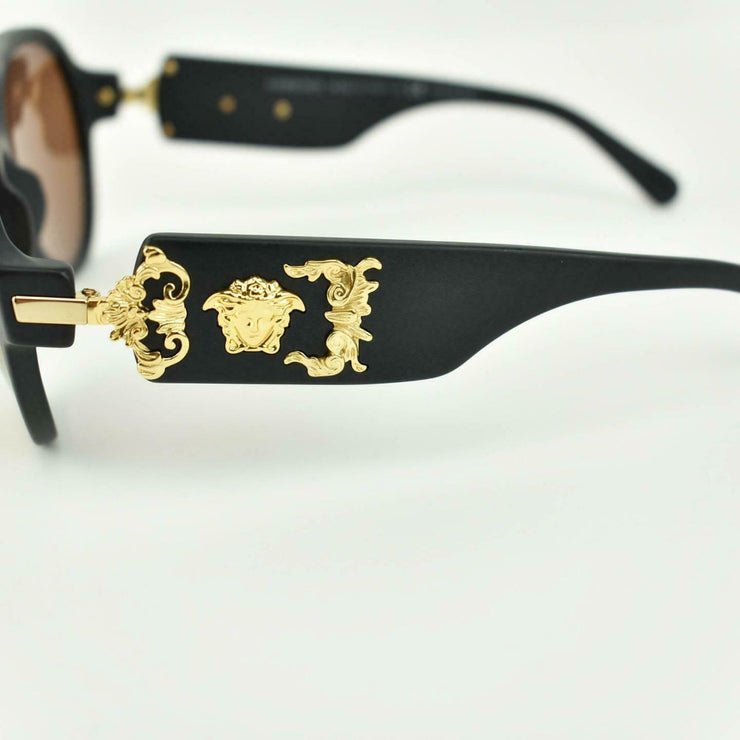 "VERSACE: Matte Black ""Medusa"" Logo Mirrored, Polarized Sunglasses (ps) Unisex"