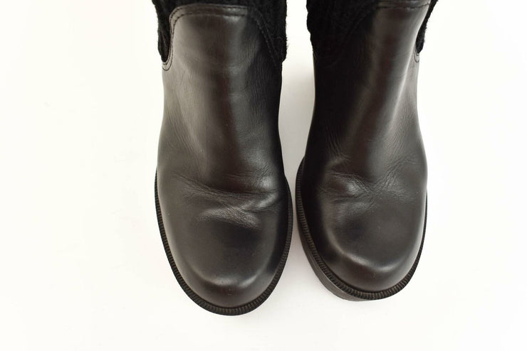 GUCCI: Black, Leather & Logo, Knit Shaft, Wedge Tall Boots Sz: 6.5M