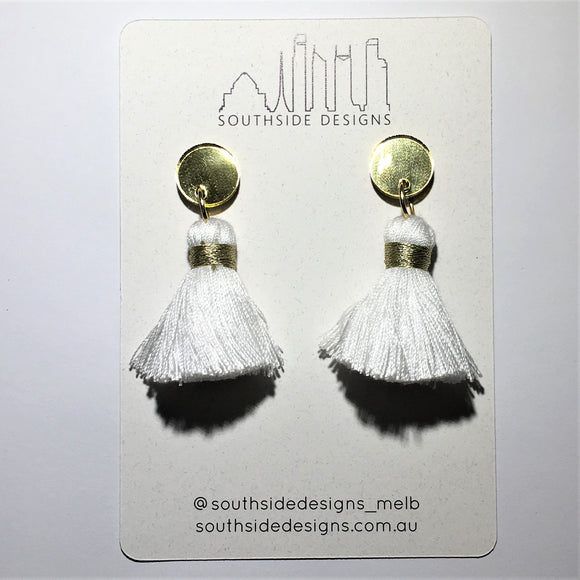 Chunky Tassel Earrings in Gold Circle