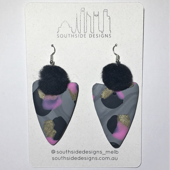 Dark Leopard Arrowhead Dangles with Pom Pom