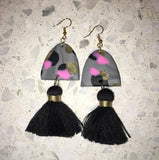 Large Dark Leopard Dangles with Chunky Tassel