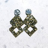 Glitterati Earrings in Gold & Silver Glitter
