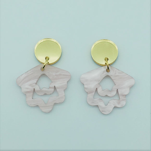 Mini Hello Petal Dangles in Baby Pink