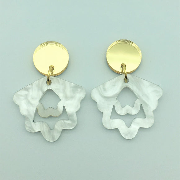 Mini Hello Petal Dangles in White
