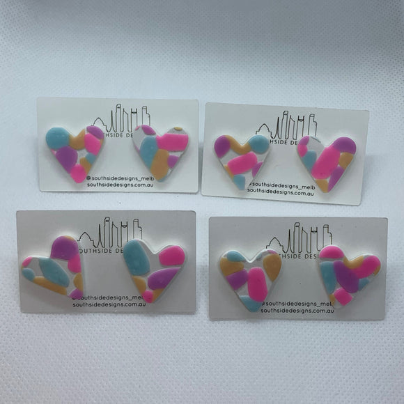 Clay Heart Studs in Pastel Jellybean