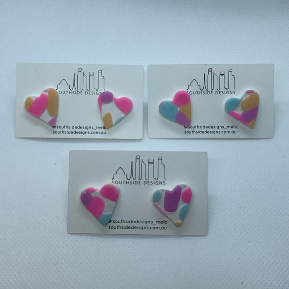 Mini Clay Heart Studs in Pastel Jellybean