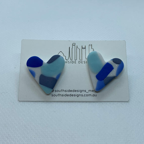 Clay Heart Studs in Blue