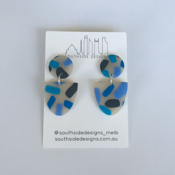 Mini Clay Dangles in Blue