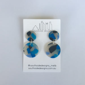 Mini Circle Clay Dangles in Blue