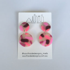 Mini Clay Circle Dangles in Pink