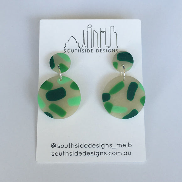 Mini Circle Clay Dangles in Green 1