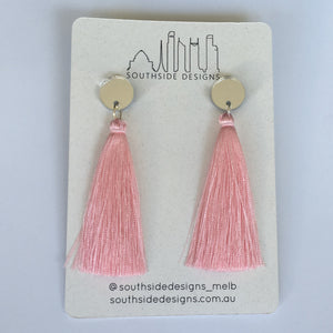 Long Tassel Earrings in Silver Circle