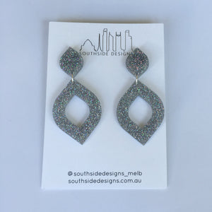 Lemon Drop Dangle Earrings in Silver Sparkle