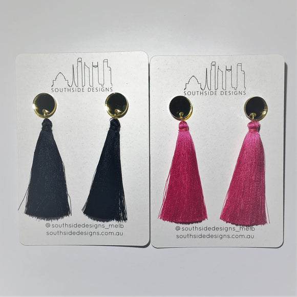 Long Tassel Earrings in Gold Circle