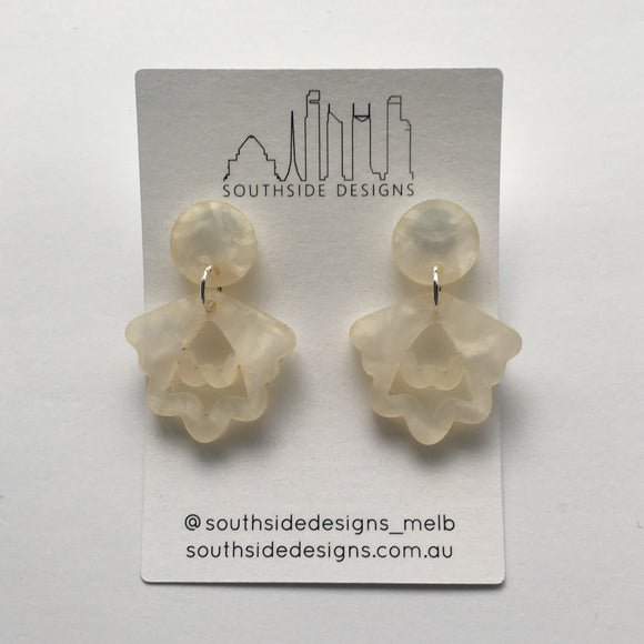 Mini Hello Petal Dangles in Beige