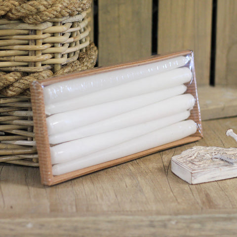 white tapered candles 6pack 1