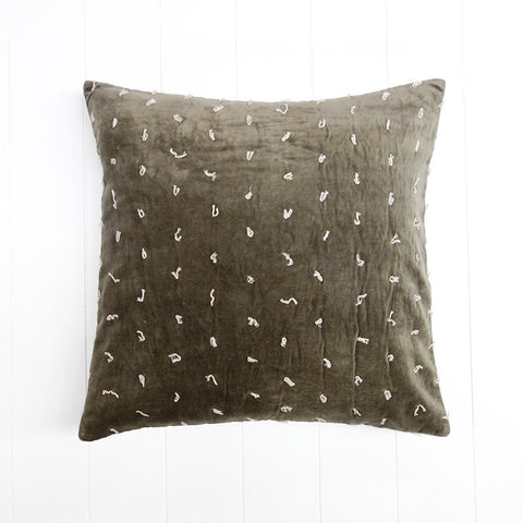 Velvet Quilted Cushion Charcoal