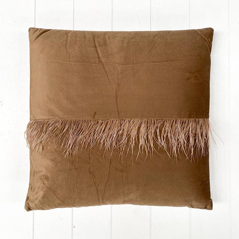 Velvet Fringe Teal Cushion