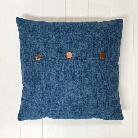 Blue Button Cushion