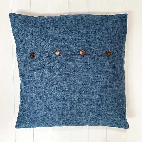 Blue Button Cushion Large