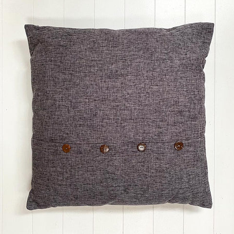 Charcoal Button Cushion Large