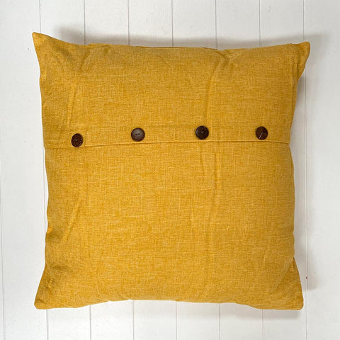 Yellow Button Cushion Large
