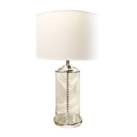Etched Glass Lamp with Shade