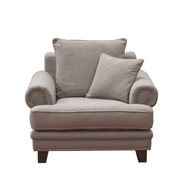 The Importer Oxford Fabric 1 Seater Sofa Stone