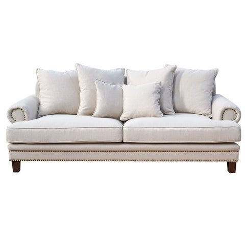 Oxford Fabric 3 Seater Sofa Sand