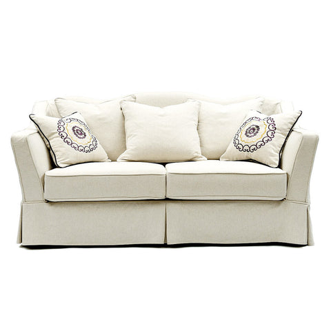 valencia fabric 2 seater white