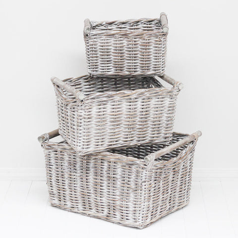 kubu whitewash handle basket 3 sizes
