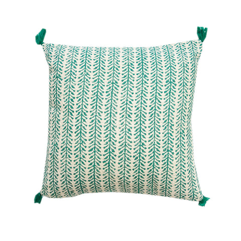 Herringbone Tassle Cushion Blue
