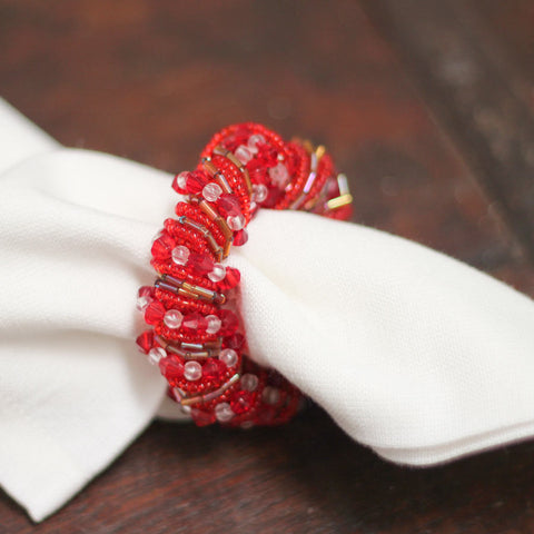 red beaded napkin rings