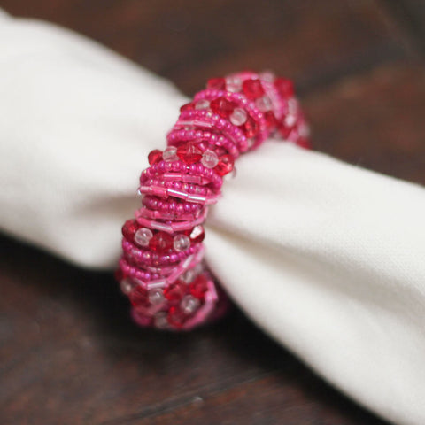 hot pink beaded napkin rings