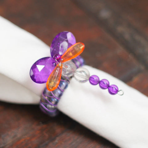 purple dragonfly set of 6