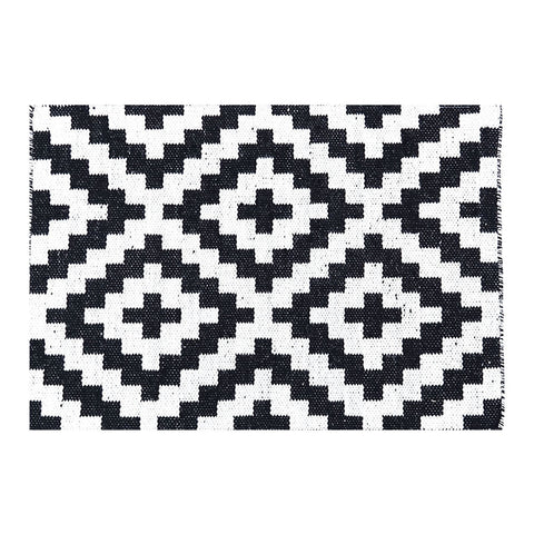 Geo Black Handwoven Wool Rug