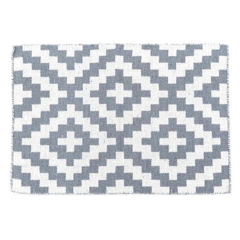 Geo Grey Handwoven Wool Rug