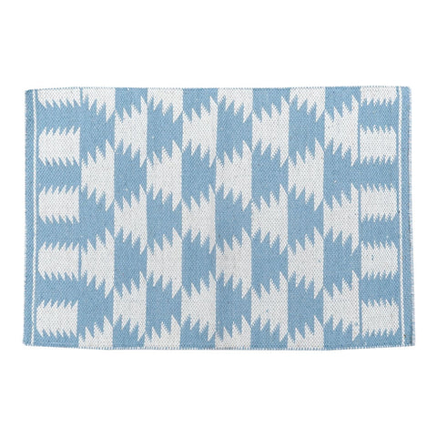 Aztec Blue Handwoven Wool Rug