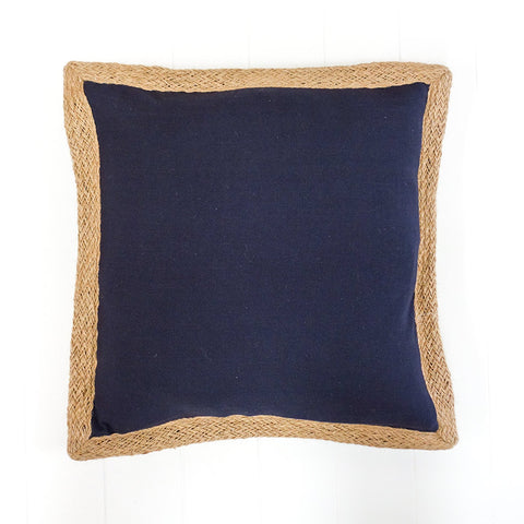 Indigo Jute Edge Cushion