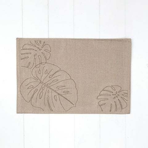 Monstera Placemat Beige