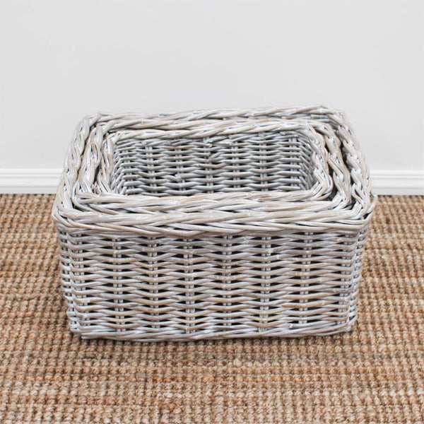 The Importer Whitewash Storage Basket 3 Sizes