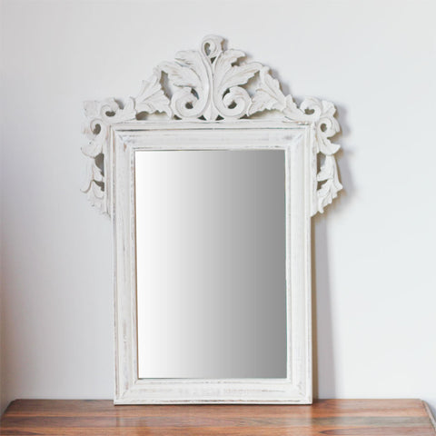 white carved mirror small