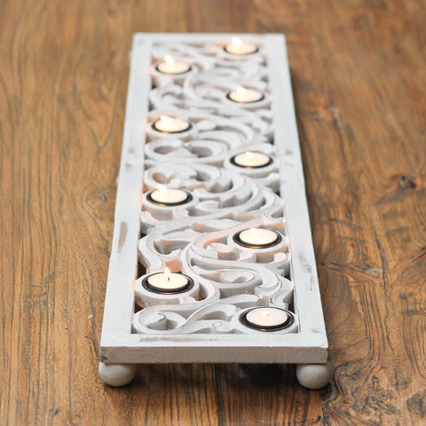 white-9-tealight-holder